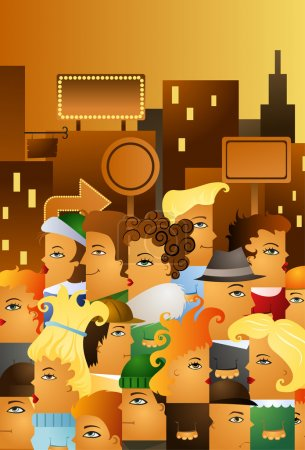 Illustration for Illustration of crowding in a high street of a big city - Royalty Free Image