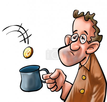 Photo pour Un mendiant reçoit de la monnaie dans sa tasse - image libre de droit