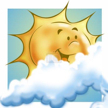 Photo pour Soleil, souriant, avec des nuages - image libre de droit