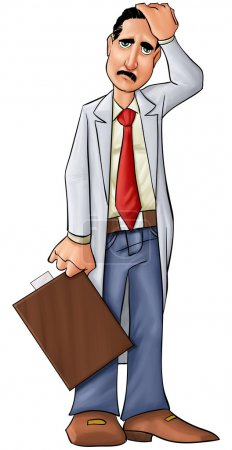 Photo for Concerned doctor thinking about some problems or medical problems - Royalty Free Image