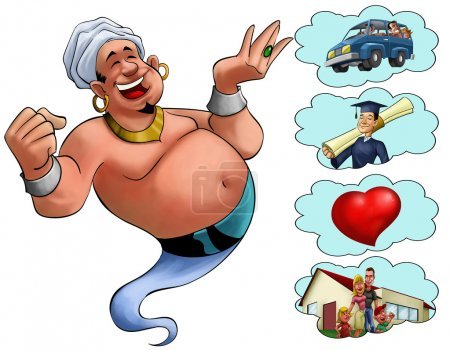Happy fat genie smiley in the moment when he appea...