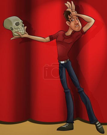 Photo for A thin actor with a skull playing hamlet - Royalty Free Image