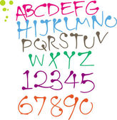 Colorful Round pen hand written font