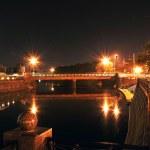Night panorama of The Lopansky bridge in Kharkov...