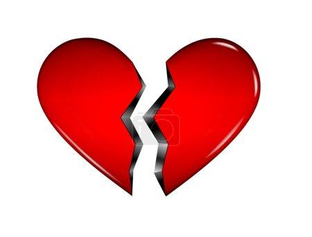 Photo pour Coeur 3D rouge généré par ordinateur brisé en deux moitiés isolé sur fond blanc - image libre de droit
