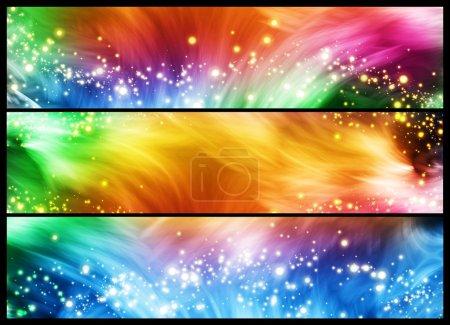 Foto de Conjunto de tres banderas coloridas con líneas y destellos - Imagen libre de derechos