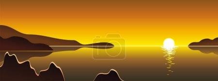 Illustration for Sunny landscape, lagoon. - Royalty Free Image
