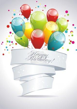 Illustration pour Joyeux anniversaire. Bannière avec ballons. Illustration vectorielle . - image libre de droit