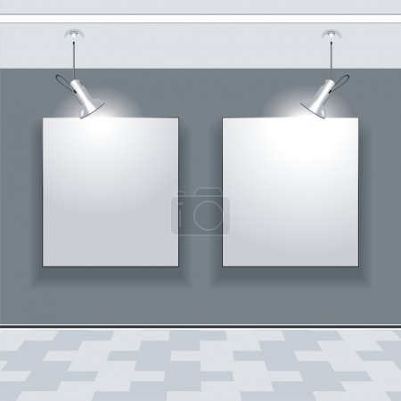 Empty gallery wall with lights