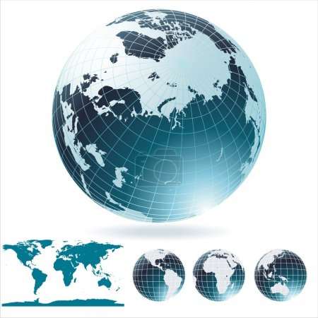 Illustration for Globe and detail map of the world. - Royalty Free Image