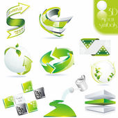 Eco related symbols3d green vector icons
