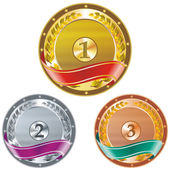 Three detailed vector medals with room for your texts or images - gold silver and bronze