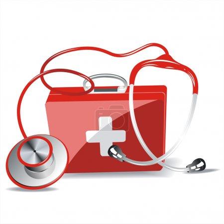 Illustration pour Boîte trousse de premiers soins avec stéthoscope isolé sur fond blanc - image libre de droit