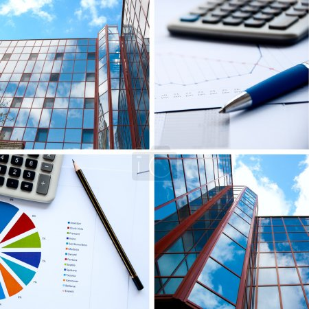 Photo for Office buildings, documents with charts, business a collage - Royalty Free Image