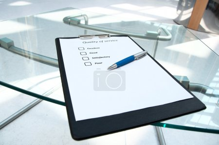 Questionnaires with marks about quality of service