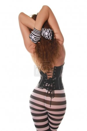 Girl in Black Corset and Pantyhose with Stripes