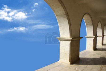 Photo for Ethereal image with marble arcades in a blue sky. - Royalty Free Image
