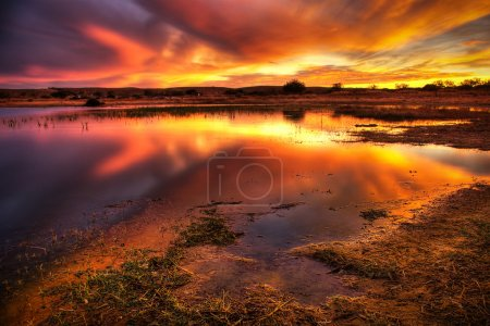 Photo for Landscape of a lake with an amazing cloudy red sky - Royalty Free Image