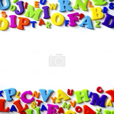 Photo for Macro composition of many colorful plastic toy letters - Royalty Free Image