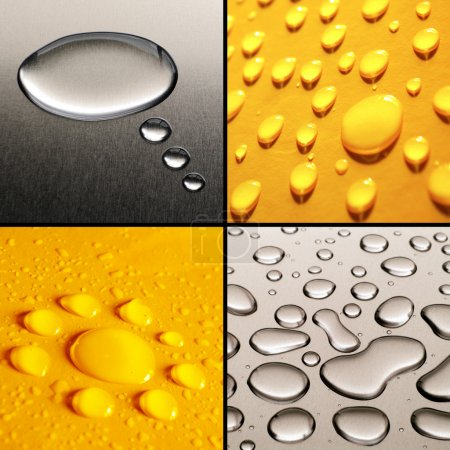 Photo for Collection of four water drops images in grey and yellow - Royalty Free Image