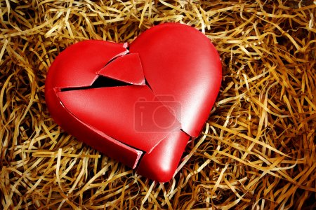 Photo for Photo with a broken heart protected with straws - Royalty Free Image