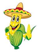 Cartoon corn cob in sombrero isolated on white background