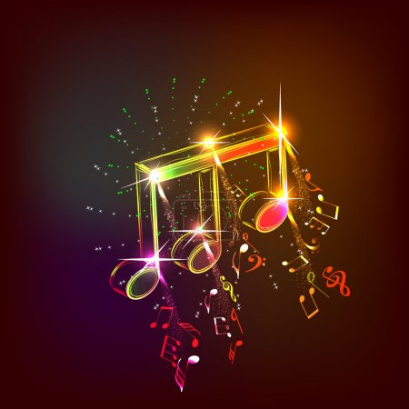 Illustration pour Musique néon notes pour un usage de conception, illustration vectorielle - image libre de droit