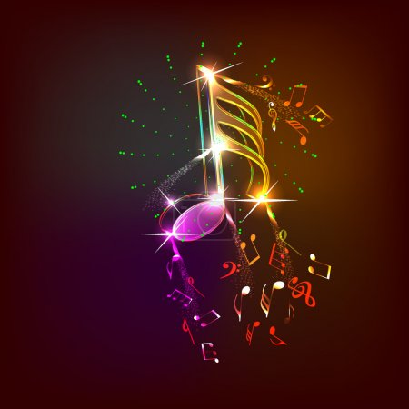 Illustration for Music neon notes for design use, vector illustration - Royalty Free Image