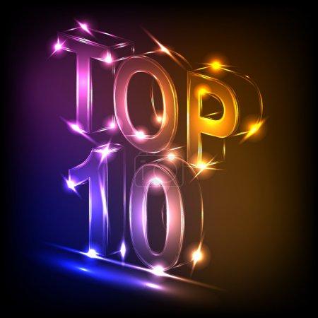 Illustration pour Top 3d néon 10 mots symbole pour la conception - image libre de droit