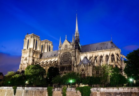 Notre Dame Cathedral in Paris France at night...