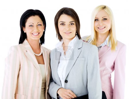 Photo for Team of three successful businesswomen looking at camera, smiling - Royalty Free Image