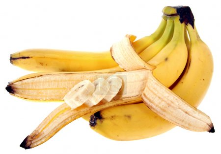 Photo for Close-up of a banana bunch isolated on white background - Royalty Free Image