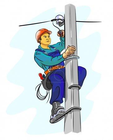 Illustration pour Electricien sur un pylône - illustration vectorielle - image libre de droit