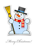 Sticker with smiling snowman in top hat broom