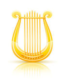 Greek golden lyre vector illustration isolated on white background