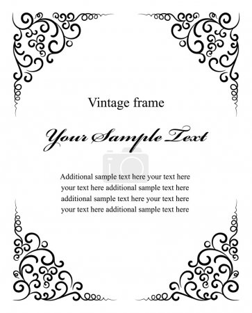 Illustration for Vintage vintage decoration frame vector illustration isolated on white background - Royalty Free Image