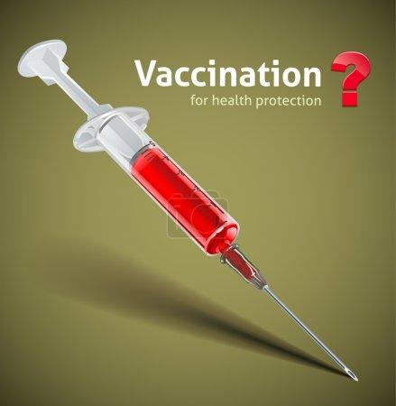 Illustration pour Seringue avec illustration couleur vaccin - image libre de droit