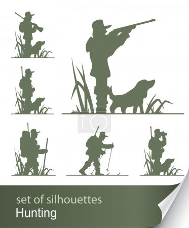 Illustration for Silhouette of hunter vector illustration isolated on white background - Royalty Free Image
