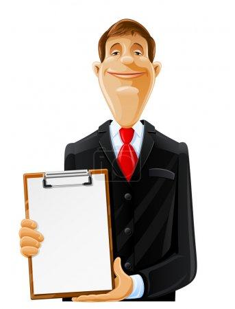 Illustration pour Bel homme avec illustration de vecteur de presse-papiers isolé sur fond blanc - image libre de droit