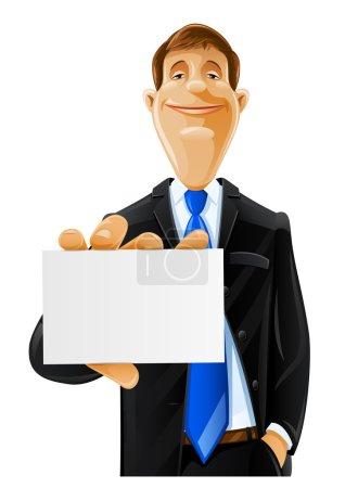 Illustration pour Bel homme avec illustration de vecteur de carte isolé sur fond blanc - image libre de droit