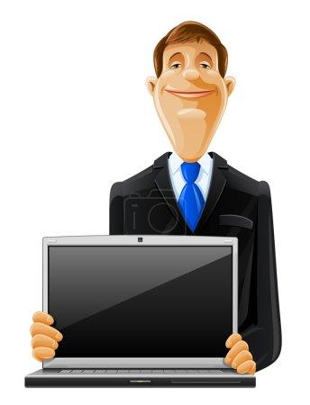 Illustration pour Bel homme avec illustration de vecteur de portable isolé sur fond blanc - image libre de droit