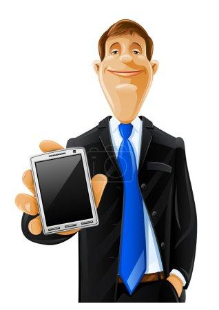 Illustration pour Bel homme avec illustration de vecteur de téléphone isolé sur fond blanc - image libre de droit