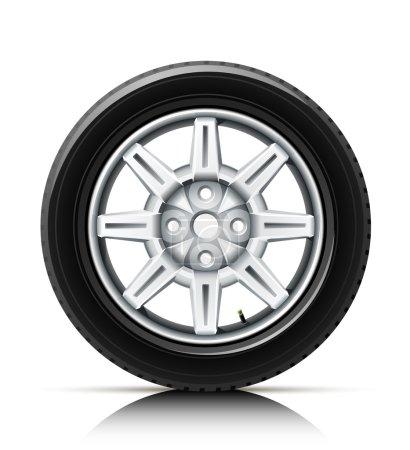Illustration for Car wheel vector illustration isolated on white background - Royalty Free Image