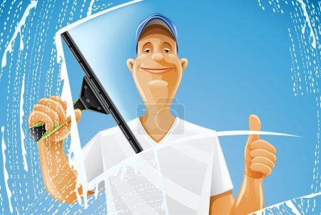 Illustration for Man cleaning window squeegee spray vector illustration isolated on white background - Royalty Free Image