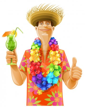 Illustration for Man cocktail hawaii wreath hat - Royalty Free Image