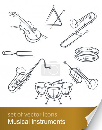 Photo for Set musical instrument vector illustration isolated on white background - Royalty Free Image