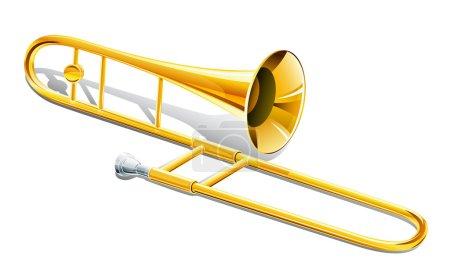 Illustration for Trombone musical instrument vector illustration isolated on white background - Royalty Free Image