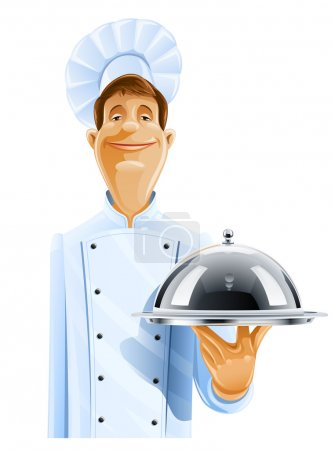 Chef cook with tray and lid