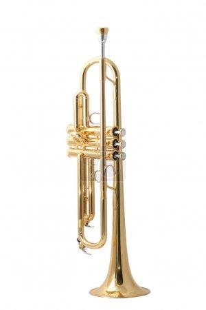Photo pour Gold lacquer trumpet with mouthpiece isolated on white - image libre de droit