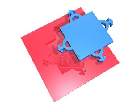 Photo pour Homme et femme symbole de genre dans les puzzles - image libre de droit